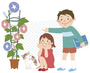 植物を見ながら笑っている子供たちのイラスト素材 [FYI01668265]