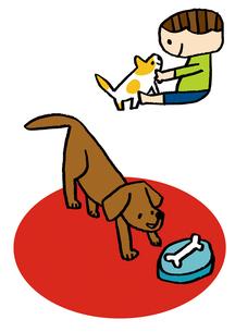 犬と子ども、エサを食べる犬のイラスト素材 [FYI01668267]