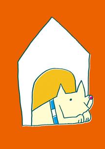 犬小屋にいる犬のイラスト素材 [FYI01668268]