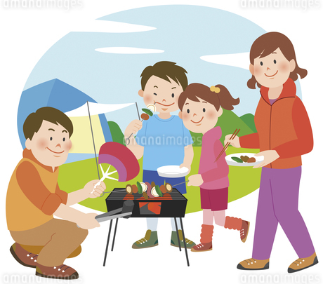 キャンプでバーベキューをしている家族のイラスト素材 [FYI01668269]