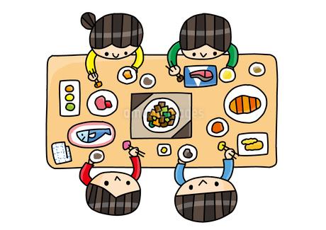 食育 家族の食卓 俯瞰のイラスト素材 [FYI01668273]