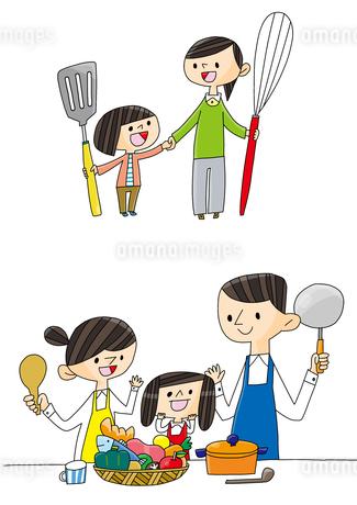 食育 家族で料理 栄養のバランスのイラスト素材 [FYI01668278]