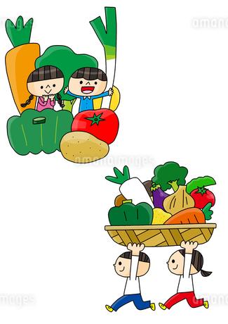 食育 野菜を持つ子どもたちのイラスト素材 [FYI01668279]