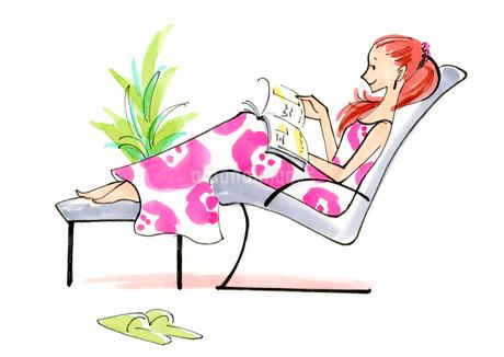 アームチェアに座りながら本を読んでいる女性のイラスト素材 [FYI01668280]