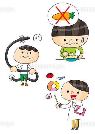食育 食べ合わせ 好き嫌い 栄養バランス 男の子のイラスト素材 [FYI01668284]