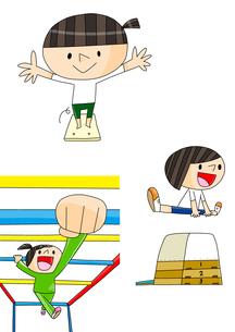 体育教室 マット運動 跳び箱 うんてい 女の子のイラスト素材 [FYI01668287]
