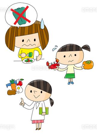 食育 食べ合わせ 好き嫌い 栄養バランス 女の子のイラスト素材 [FYI01668290]