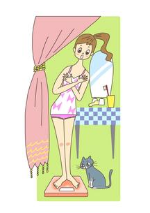 体重計に乗る女の子と猫のイラスト素材 [FYI01668291]