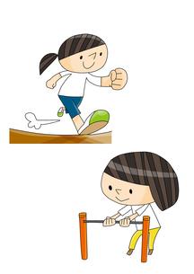 体育教室 かけっこ 鉄棒 逆上がりをする女の子のイラスト素材 [FYI01668292]