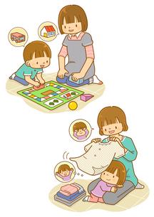 お母さんと遊ぶ子供のイラスト素材 [FYI01668293]