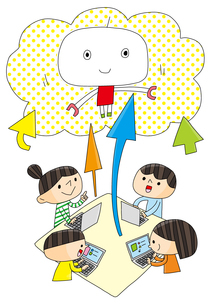 理科教室 プログラミング教育 創造する子どもたち ロボットのイラスト素材 [FYI01668295]