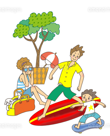 サーフィンをするお父さんとスケボーをする子供のイラスト素材 [FYI01668296]