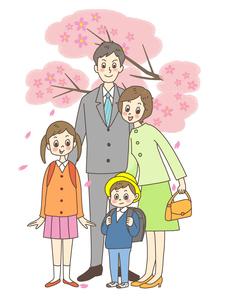 ランドセルを背負う子供と両親のイラスト素材 [FYI01668304]