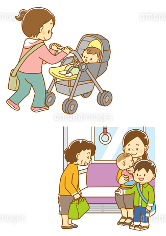 ベビーカーに乗った赤ちゃん、お年寄りに席を譲る子供のイラスト素材 [FYI01668307]
