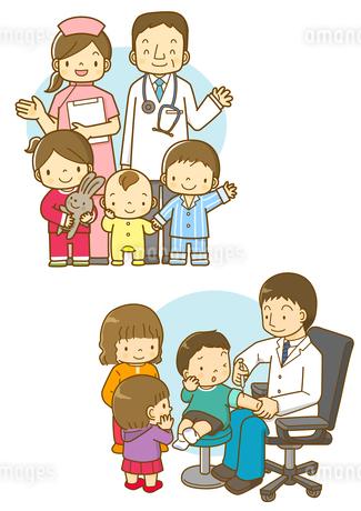 小児科のお医者さんと看護師さんと子供たちのイラスト素材 [FYI01668316]