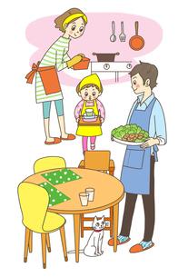 ご飯の準備をする家族のイラスト素材 [FYI01668318]