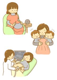 双子のママと赤ちゃんの様子を見るお医者さんのイラスト素材 [FYI01668324]