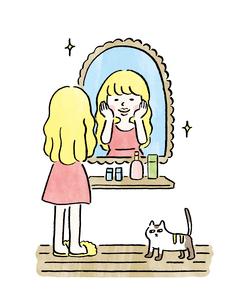 鏡の前に立って化粧をする女の子のイラスト素材 [FYI01668336]