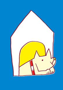 犬小屋にいる犬のイラスト素材 [FYI01668340]