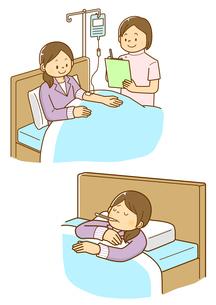 点滴を受ける女性と看護師、病気で寝ている女性のイラスト素材 [FYI01668351]