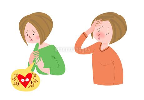 女性の病気 動悸 発熱のイラスト素材 [FYI01668353]