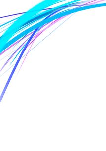白背景の空間に浮かぶカラフルな青・紫のラインのイラスト素材 [FYI01668354]
