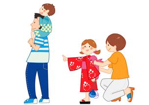 夏祭りに出かける家族のイラスト素材 [FYI01668358]
