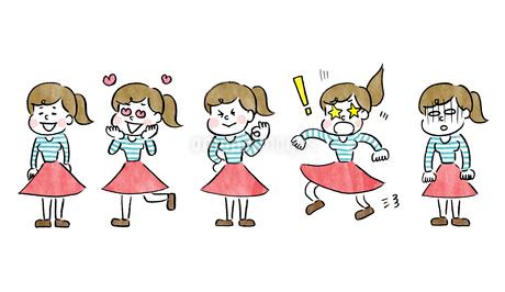 女の子のいろいろなポーズのイラスト素材 [FYI01668360]