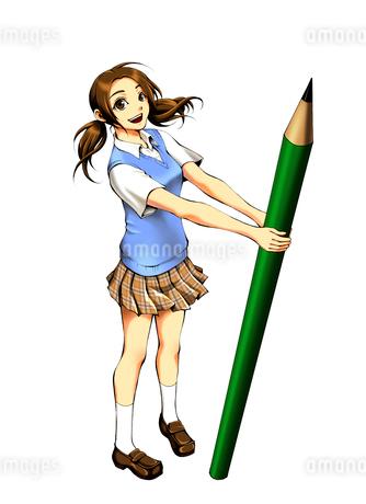大きい鉛筆を持って立つ女子高生のイラスト素材 [FYI01668377]