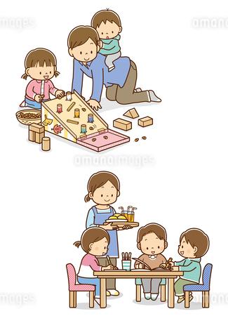 ドングリを使ってあそぶ親子、遊んでいるこどもたちとおやつを持ってきたお母さんのイラスト素材 [FYI01668380]