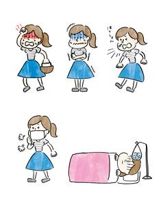 風邪をひいた女の子のいろいろなシチュエーションのイラスト素材 [FYI01668387]