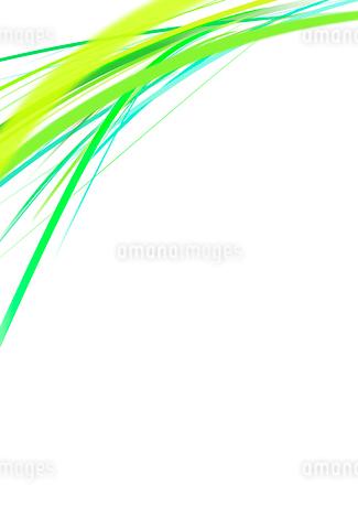 白背景の空間に浮かぶカラフルな緑系のラインのイラスト素材 [FYI01668395]