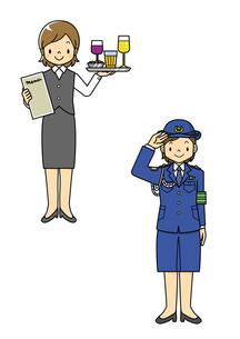 ウエイトレスと婦人警官のイラスト素材 [FYI01668396]