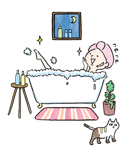 お風呂に入る女の子のイラスト素材 [FYI01668405]