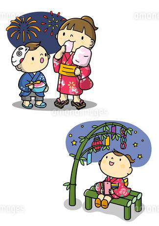 夏祭りで花火を見るこどもと七夕の女の子のイラスト素材 [FYI01668410]