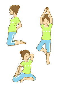 腰や上半身のストレッチをする女性のイラスト素材 [FYI01668415]