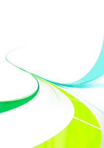 緑と青の流れるライン-白背景のイラスト素材 [FYI01668426]