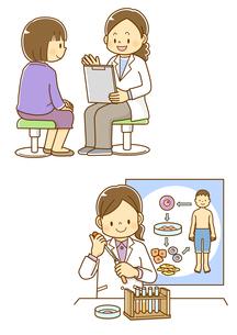 問診を受ける女性、再生医療研究をする女性のイラスト素材 [FYI01668432]