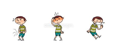 小学生男子の医療 腹痛 発熱 咳のイラスト素材 [FYI01668570]