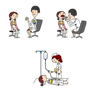 中高生女子の医療 問診 診察 点滴のイラスト素材 [FYI01668571]
