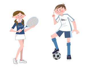 テニスとサッカーをする中高生のイラスト素材 [FYI01668615]