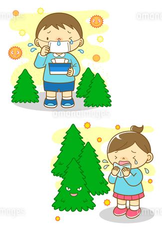 花粉症の男の子とくしゃみをする女の子のイラスト素材 [FYI01668625]