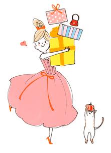 プレゼントをたくさん抱える女の子と猫のイラスト素材 [FYI01668638]
