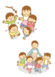 桜を見上げる先生と園児、男性保育士さんとお散歩する子供たちのイラスト素材 [FYI01668857]