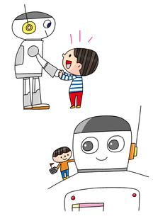 プログラミング教育 ロボットを操る男の子 ロボットと男の子のイラスト素材 [FYI01668863]