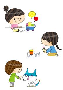 プログラミング教育 ロボットを操る女の子 ロボットと女の子のイラスト素材 [FYI01668864]