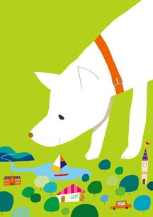 犬と街のイラスト素材 [FYI01669127]