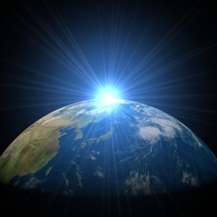 日の出と地球の写真素材 [FYI01669167]