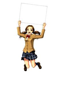 ホワイトボードを掲げてジャンプする女子高生のイラスト素材 [FYI01669205]