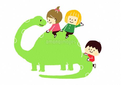 恐竜と子供たちのイラスト素材 [FYI01669298]